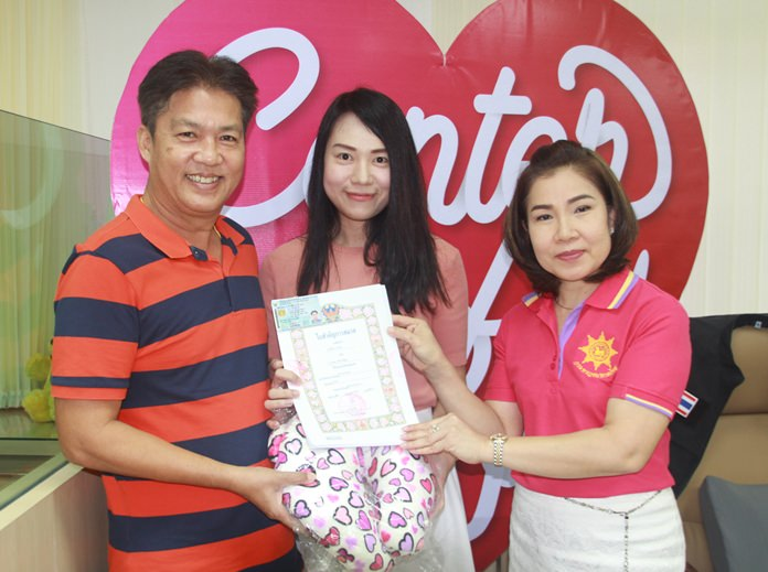 Ms. Amporn Deebua (right), Banglamung secretary was head of registration for couples who went to register their marriage at the Banglamung office.