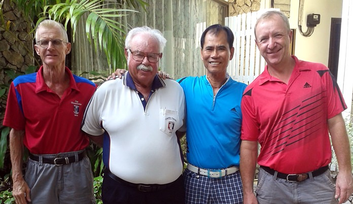 Scramble winners Henning Olsen, Kenneth Madsen and Fred Tam with Dave Richardson (2nd left).