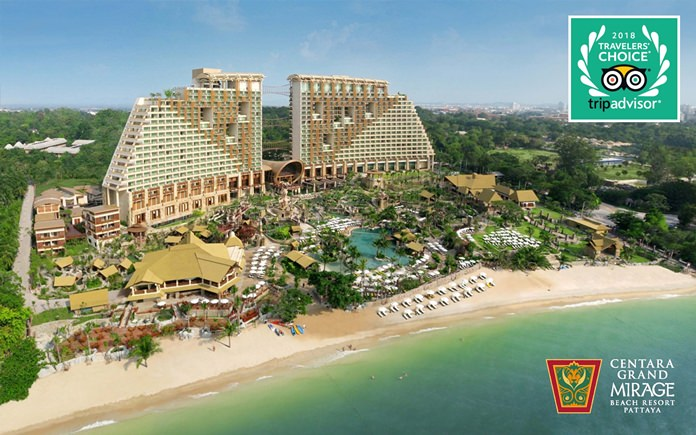 TripAdvisor has named Centara Grand Mirage Beach Resort Pattaya as the No. 1 Family Hotel in Thailand, and the No. 4 Family Hotel in Asia, in its 2018 Travelers' Choice Awards.