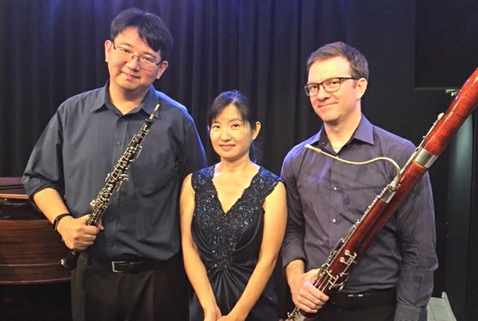(From left) Cooper Wright, Yoshimi Sato and Christopher Schaub.