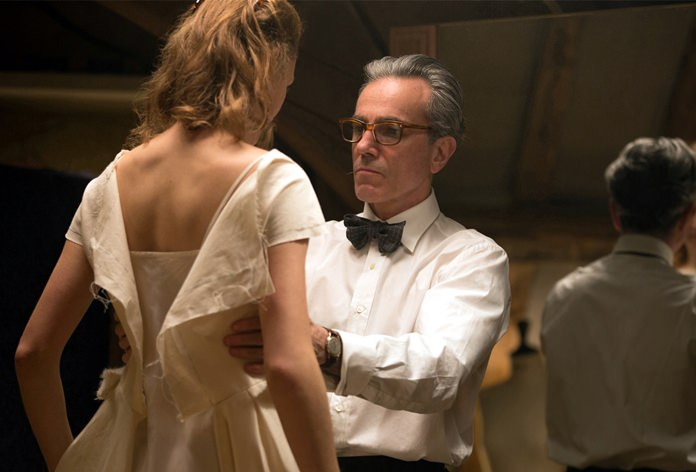"""In this image Vicky Krieps (left) and Daniel Day-Lewis appear in a scene from """"Phantom Thread."""" (Laurie Sparham/Focus Features via AP)"""