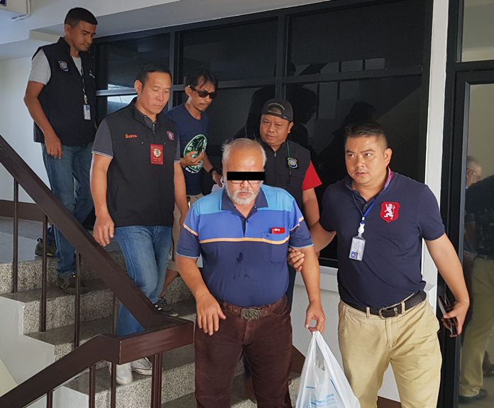 Seksan Thraisika was apprehended by Pattaya and Tourist Division police with 34,000 baht in Thai and foreign currency.