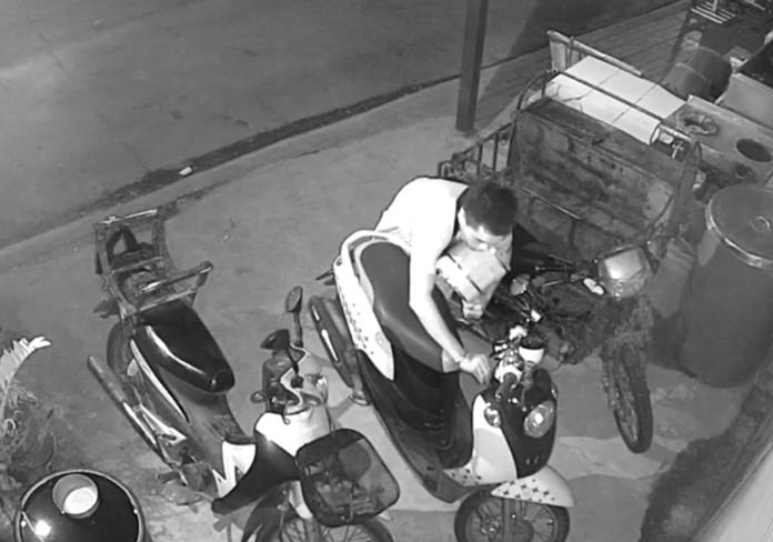 The unknown thief makes off with the restaurant's motorbike and other stolen goods.