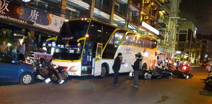 No one was injured when a runaway tour bus plowed over motorbikes and into cars on Pratamnak Hill.