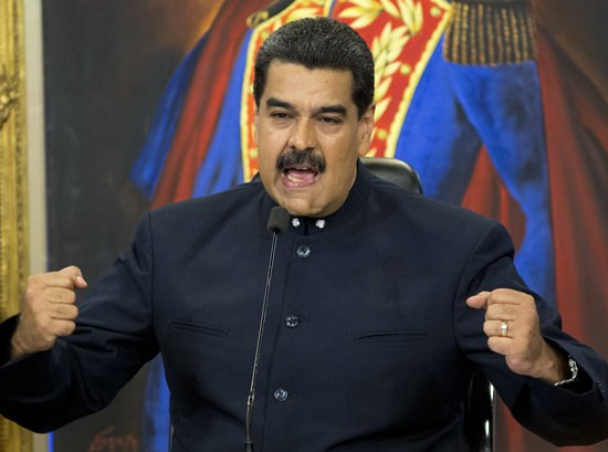 In this Oct. 17, 2017 file photo, Venezuela's President Nicolas Maduro gives a press conference at Miraflores presidential palace in Caracas, Venezuela. (AP Photo/Ariana Cubillos, File)