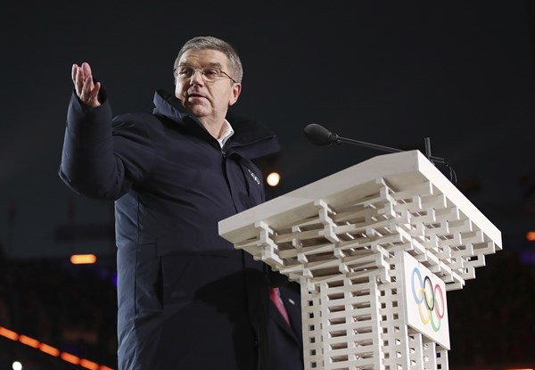 Thomas Bach, president of the International Olympic Committee is shown in this Friday, February 9, 2018 photo. (Clive Mason/Pool Photo via AP)