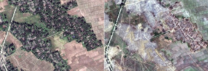 This combination of two satellite images provided by DigitalGlobe, Dec. 20, 2017, left; and Feb. 13, 2018, right; display the village of Myin Hlut, 25 kilometers (15 miles) southeast of Maungdaw, Rakhine state, Myanmar. The predominantly Rohingya village and hamlets have been completely leveled by authorities in recent weeks, far more than previously reported. (DigitalGlobe via AP)