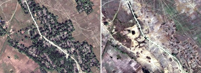 This combination of two satellite images provided by DigitalGlobe, Dec. 20, 2017, left; and Feb. 13, 2018, right; show the village of Myin Hlut. While Myanmar's government claims it's simply trying to rebuild a devastated region, the operation has raised deep concern among human rights advocates, who say the government is destroying what amounts to scores of crime scenes before any credible investigation takes place. (DigitalGlobe via AP)