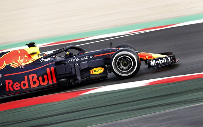 Red Bull driver Daniel Ricciardo of Australia steers his car during a Formula One pre-season testing session at the Catalunya racetrack in Montmelo, outside Barcelona, Spain, Monday, Feb. 26. (AP Photo/Francisco Seco)