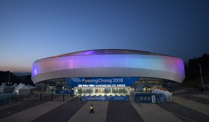The Gangneung Ice Arena is illuminated at night prior to the 2018 Winter Olympics in Gangneung, South Korea, Tuesday, Feb. 6. (AP Photo/Felipe Dana)