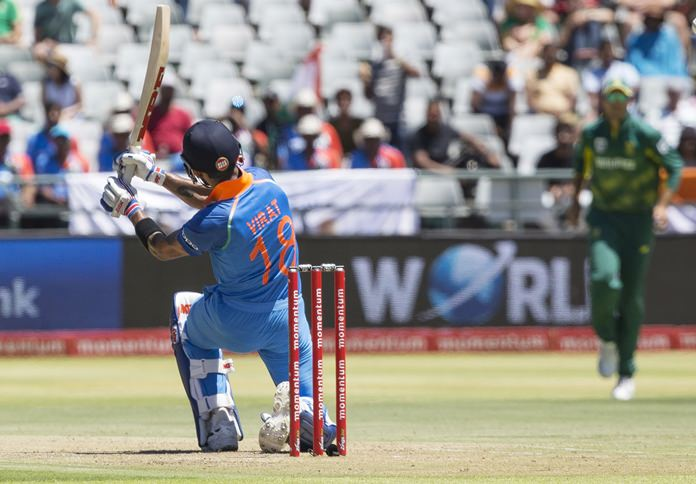Indian batsman Virat Kohli is shown in action during the third One Day International match against South Africa at Newlands Stadium, in Cape Town, South Africa, Wednesday, Feb 7. (AP Photo/Halden Krog)