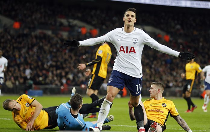 Tottenham's Erik Lamela celebrates after scoring his side's second goal during the English FA Cup fourth round replay agaianst Newport County at Wembley Stadium in London, Wednesday, Feb. 7. (AP Photo/Frank Augstein)