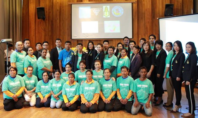 Students from King Prajadhipok's Institute in Bangkok, shown here at city hall after cleaning up Wong Amat Beach as part of the Zero Trash Thailand project.