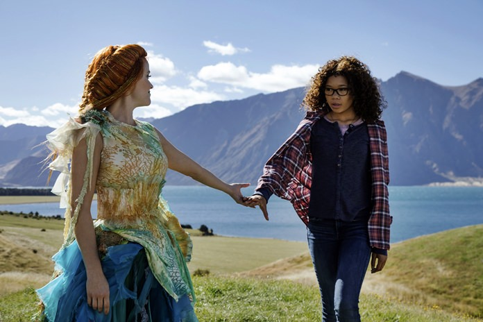 "This image released by Disney shows Reese Witherspoon (left) and Storm Reid in a scene from ""A Wrinkle In Time."" (Atsushi Nishijima/Disney via AP)"