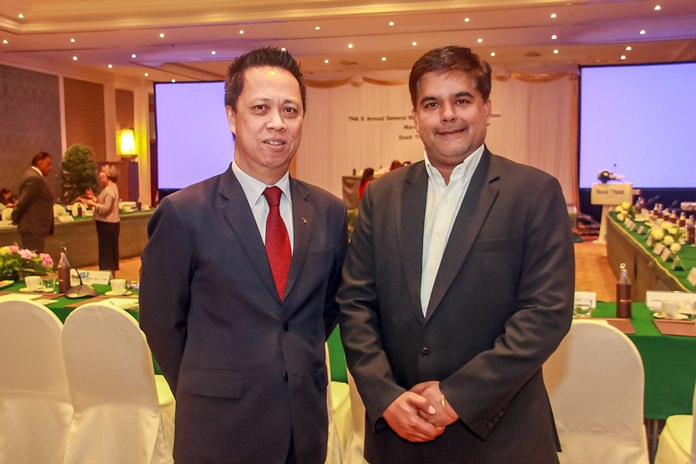 Neoh Keen Boon, GM of the Dusit Thani, the host venue greets Tony Malhotra, Director of Operations of Pattaya Mail.