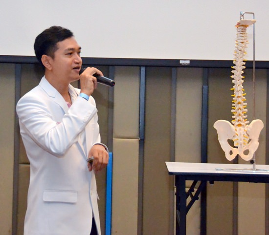 Physiotherapist Nat Bamrungchua explains to his PCEC audience what causes lower back pain, how it is diagnosed, and how physical therapy management including exercise can treat it.