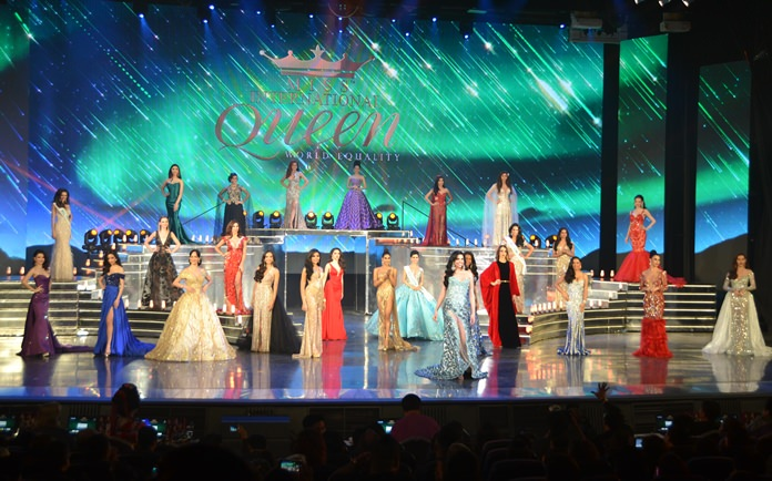 Contestants impress the judges in their evening gowns.