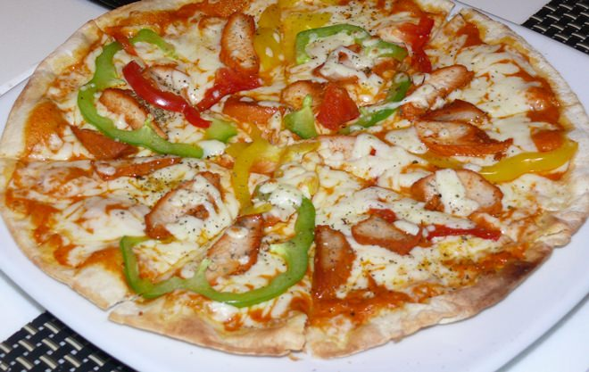 An Indian spice pizza.
