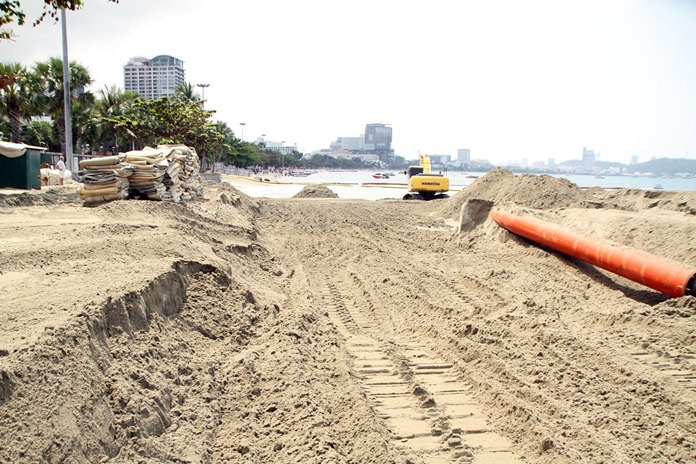 The on-again, mostly-off-again effort to stop erosion from wiping Pattaya Beach off the map is off again after Chulalongkorn University consultants, for the third time, bungled the job of finding the right sand.