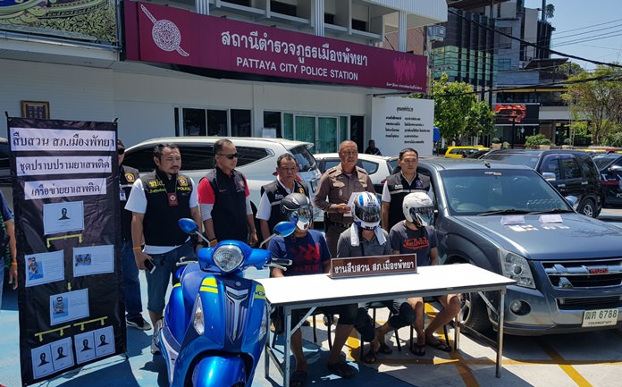Pattaya police arrested three men accused of using or selling drugs as part of a network based in Samut Sakon Province.