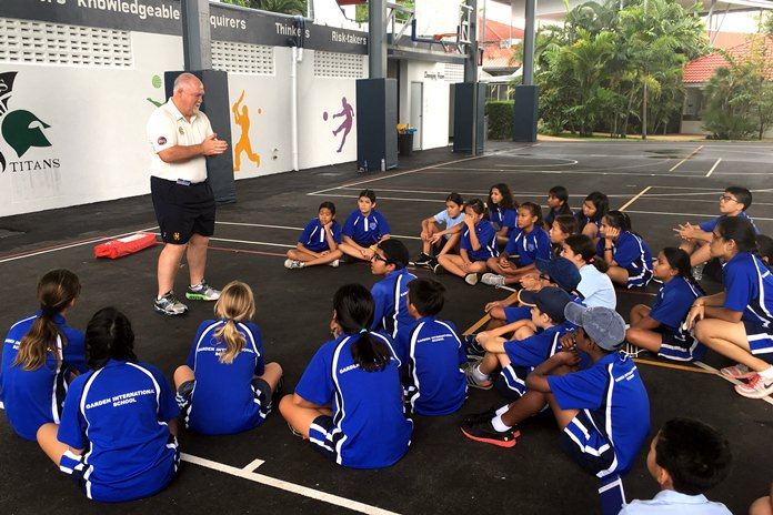 Former England cricket captain Mike Gatting passes on invaluable sporting knowledge to the students at Garden International School.