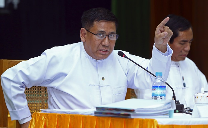 Myanmar's Permanent Secretary of Foreign Affairs Ministry Myint Thu speaks to journalists during a press conference about the situation of Rakhine State at Information Ministry in Naypyitaw, Myanmar, Wednesday, March 14. (AP Photo/Aung Shine Oo)