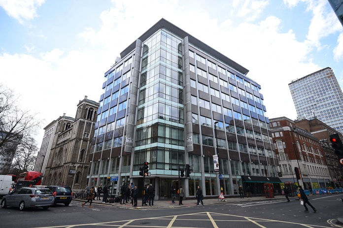 The offices of Cambridge Analytica (CA) are shown in central London, Tuesday March 20. (Kirsty O'Connor/PA via AP)
