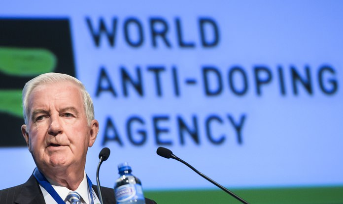 Craig Reedie, world anti-doping agency (WADA) President, delivers his speech during the opening day of the 2018 WADA annual symposium, at the Swiss Tech Convention Center, in Lausanne, Switzerland, on Wednesday March 21. (Jean-Christophe Bott/Keystone via AP)