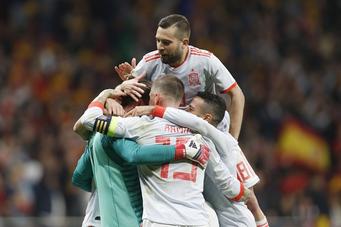 Spain players celebrate after scoring during the 6-1 international friendly win over Argentina at the Wanda Metropolitano stadium in Madrid, Spain, Tuesday, March 27. (AP Photo/Francisco Seco)