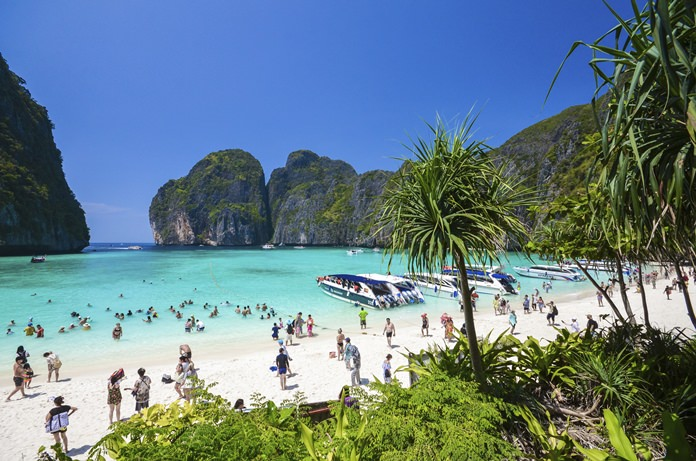 In This March 4 2017 Photo Tourists Enjoy The Por Maya Bay On