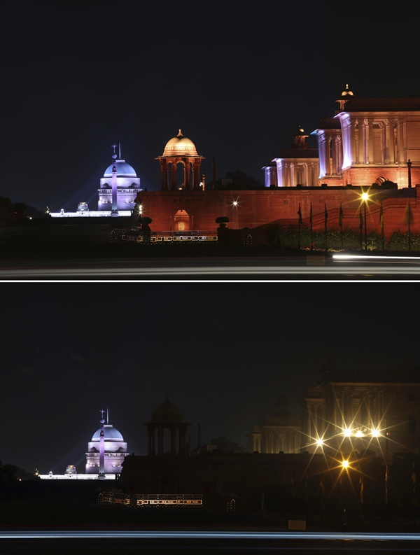In this two photo combination picture, North Block, buildings that house India's seat of power are seen lit, top, and then the same location in darkness when the lights are turned out for one hour to mark Earth Hour, in New Delhi, India. (AP Photo/Oinam Anand)