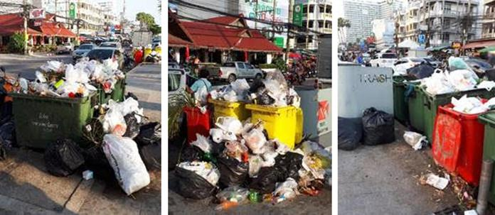 Jomtien Beach Road, bins only 20 & 70 meters apart, and even when emptied there remains a dirty stinking residue for tourists and locals to enjoy.
