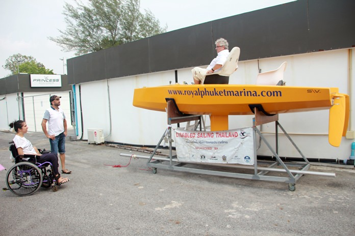 Peter Jacob, the president of the Disabled Sailing Association Thailand, was on site to display a new boat in the works for the physically disabled.