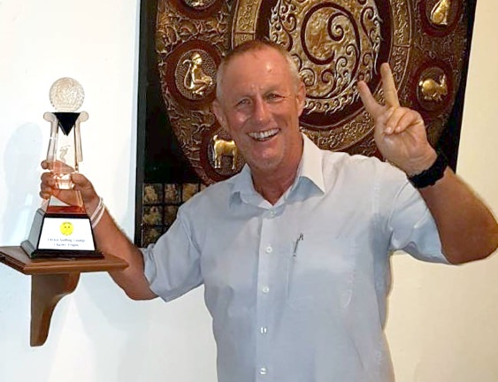 Georg Bufe celebrates after winning the Chrusi's Golfing Lounge Charity Trophy for 2018.