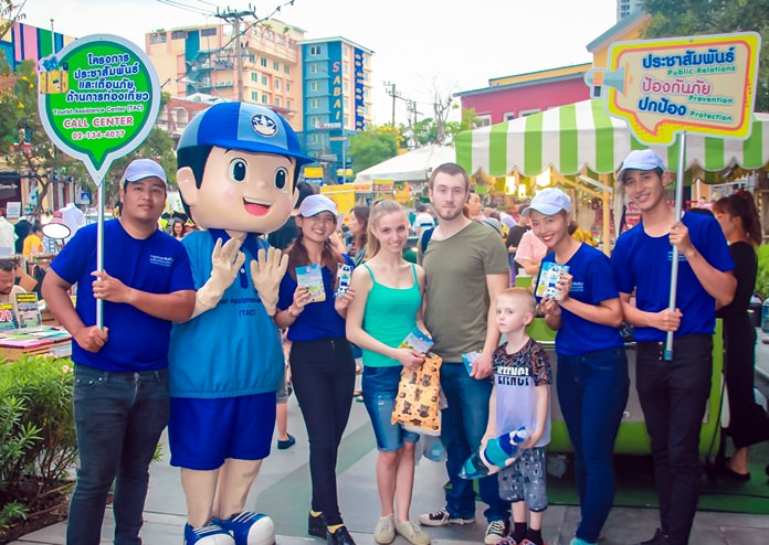 Namjai, the mascot for the Ministry of Tourism and Sports hands out booklets in Thai, English and Chinese offering guidelines on what tourists are allowed to do and what would violate the law or Thai cultural morals.
