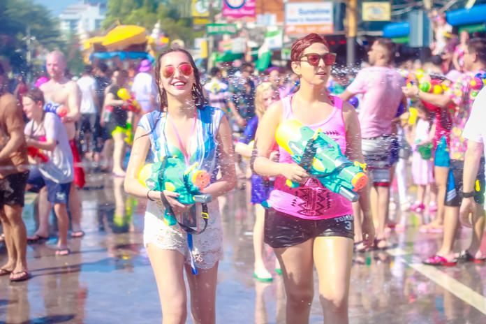 Songkran begins earlier and ends later in Pattaya than all but one Thai province and both tourists and locals make the most of it. While the official / national holiday runs April 13-15, the manic water throwing starts as early as the 10th in Pattaya and continues until the final day on April 19. The event has the twin effect of filling up hotels and emptying condos across the city as tourists come for the fun while many expats flee the mayhem.