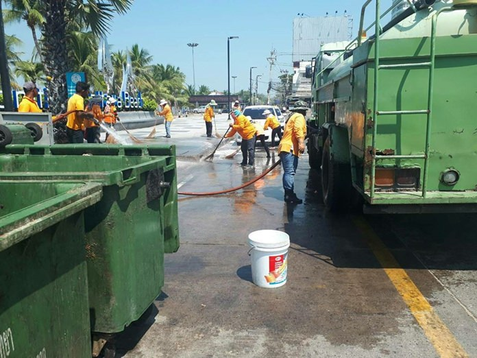 City workers took brooms to Pattaya from end to end for a pre-Songkran spruce-up.