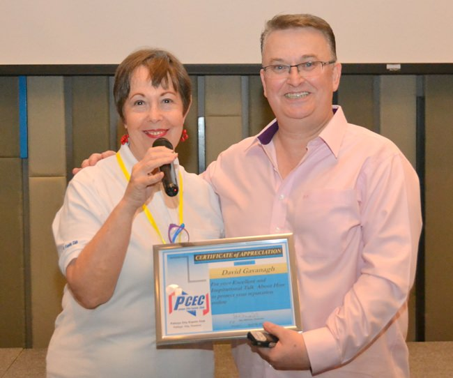 MC Judith Edmonds presents David Cavanagh with the PCEC's Certificate of Appreciation for his interesting and informative presentation.