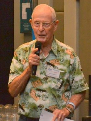 After the main presentation, Member Richard Smith announces some upcoming events including the next wine tasting at the Holiday Inn and a one day training course in CPR and AED for PCEC members only at Bangkok Hospital Pattaya.