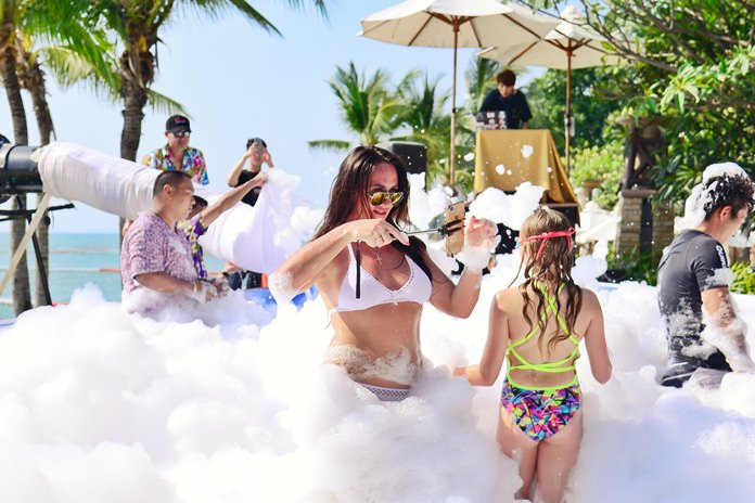 Family fun at the afternoon Centara Grand Mirage Beach Resort Foam Party.