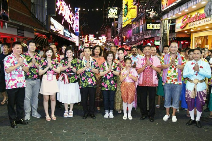 Pattaya Mayor Anan Charoenchasri leads officials, family and friends to the events on Walking Street.