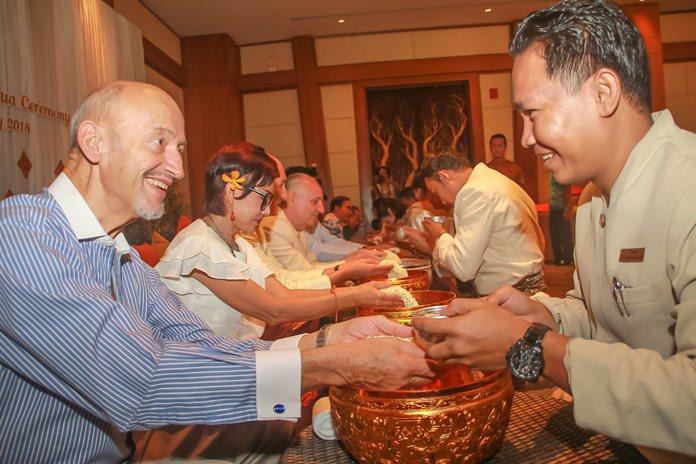 Traditional Songkran blessings at Centara Grand Mirage Beach Resort.