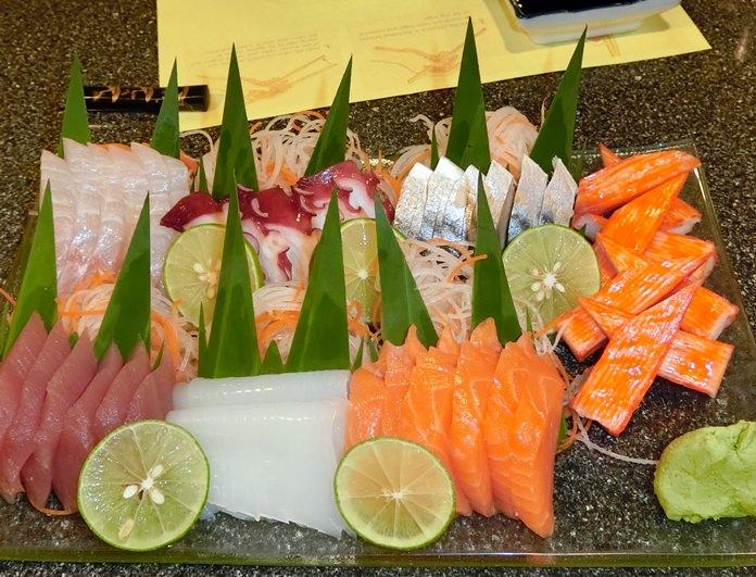 A huge serving of Sashimi.