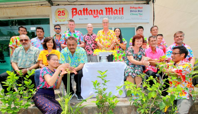 Peter Malhotra, MD of the Pattaya Mail Media Group, led management and staff in the annual Songkran 'Rod Nam Dum Hua' ceremony to thank the staff and pay respects to senior members.