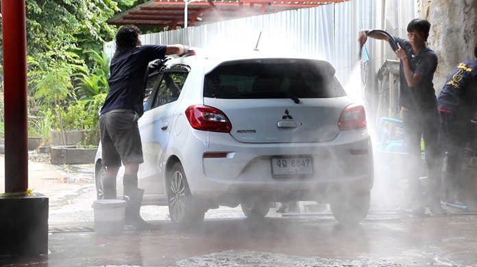 On April 20, a day after nine days of water and powder caked every vehicle in the area, car washes were employing double the staff to handle the backlog of people looking to clean their cars.