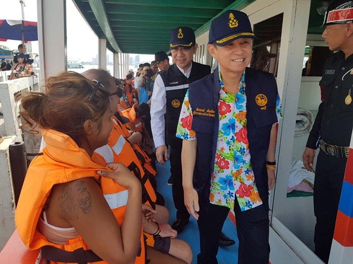 Chonburi Governor Pakarathorn Thienchai and Banglamung District Chief Naris Niramaiwong Pattaya a Songkran visit to check on marine-safety measures undertaken during the Thai New Year.