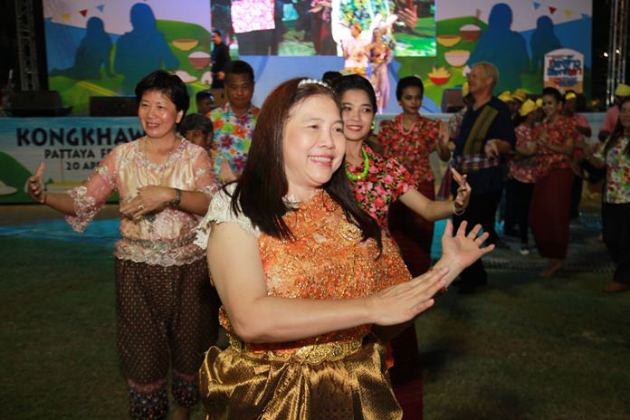 Ornwara Korapin, director of the Tourism Promotion Department, dances the 'Ram Thai' with friends.