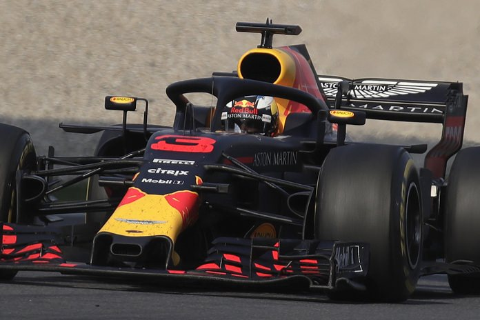 Red Bull driver Daniel Ricciardo of Australia steers his car on the way to winning the Chinese Formula One Grand Prix at the Shanghai International Circuit in Shanghai, Sunday, April 15. (AP Photo/Andy Wong)