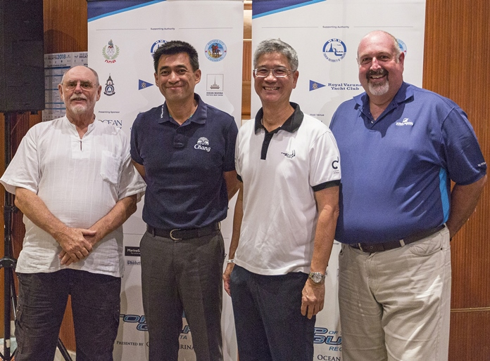 From left: Bill Gasson, Co-Chairman of the Top of the Gulf Regatta; Surapol Utintu, Vice President External Affairs, Thai Beverage Public Company Limited; Kirati Assakul, Co-Chairman of the Top of the Gulf Regatta; and Scott Finsten, Harbour Master, Ocean Marina Yacht Club. (Photo by Guy Nowell)
