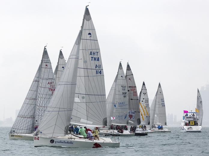 The wet conditions didn't put a dampener on proceedings as one race was completed for all classes on Day 1 of the 2018 Top of the Gulf Regatta. (Photo by Guy Nowell)